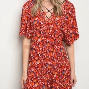 19 Cooper Red Floral Shorts Romper NWT